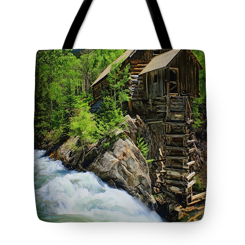 Crystal Mill Tote Bag featuring the photograph Crystal Mill by Priscilla Burgers