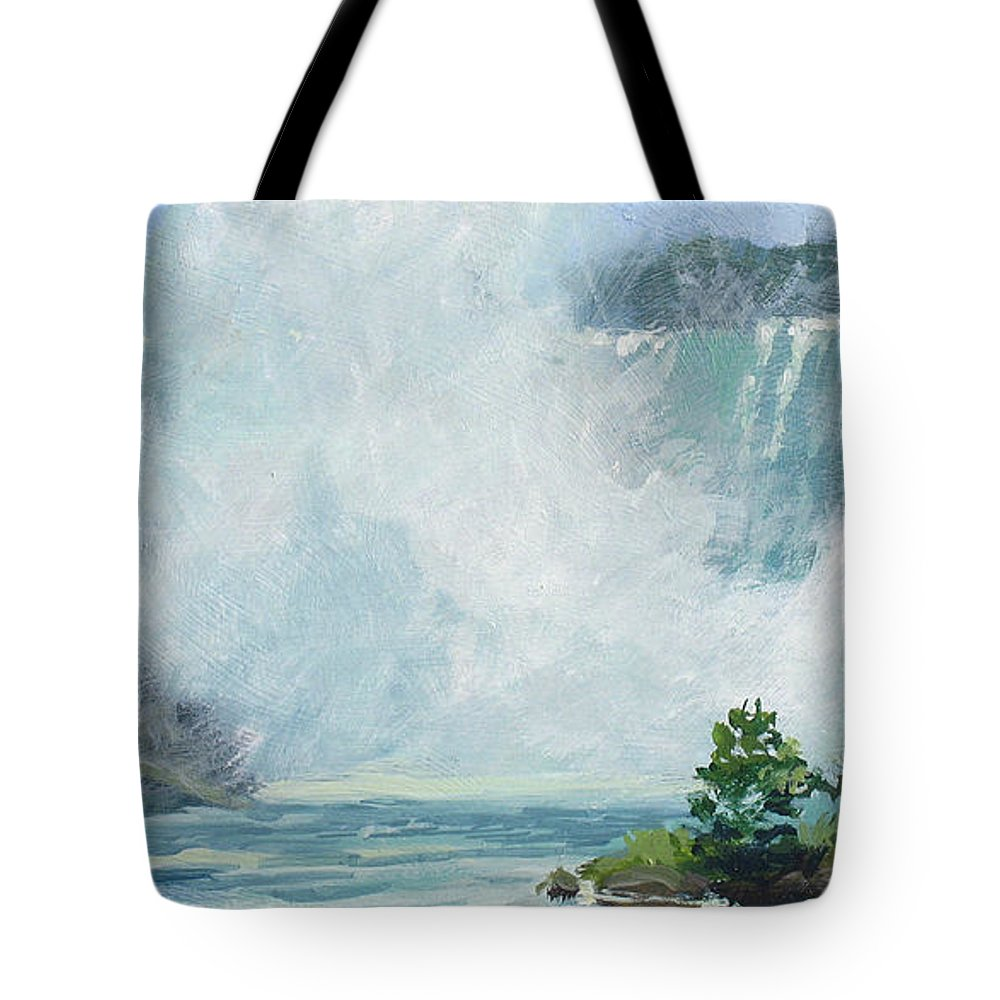 Niagara Falls Tote Bag featuring the painting Crystal Mist by L Diane Johnson
