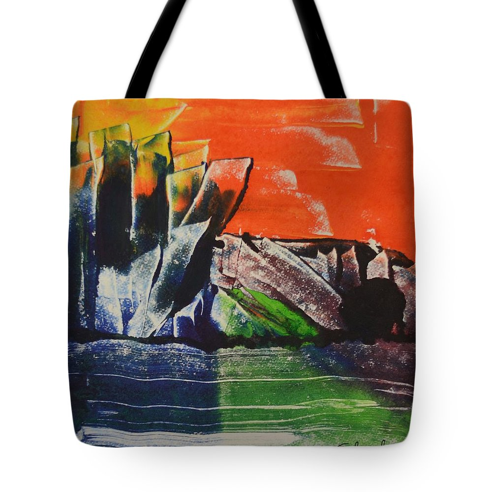 Abstract Art Tote Bag featuring the digital art Crystal Quarry by Ed Schamel