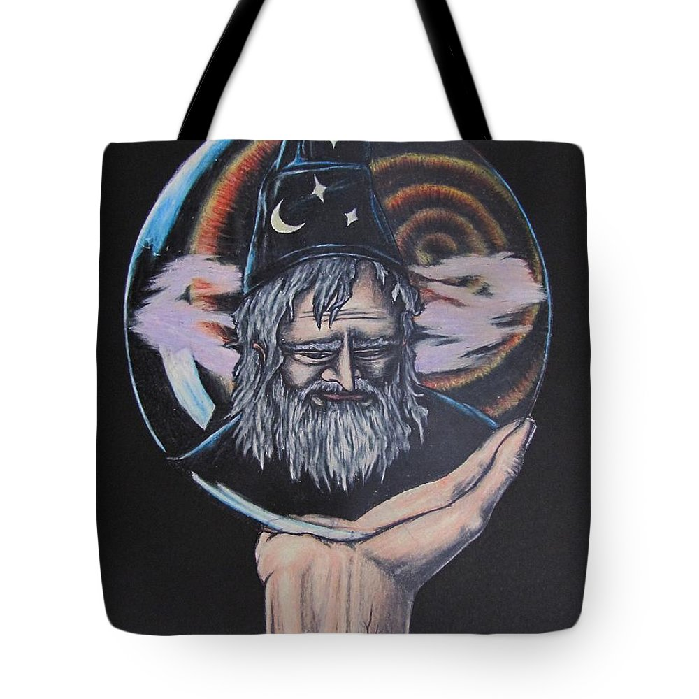 Michael Finney Tote Bag featuring the drawing Crystal Wizard by Michael TMAD Finney