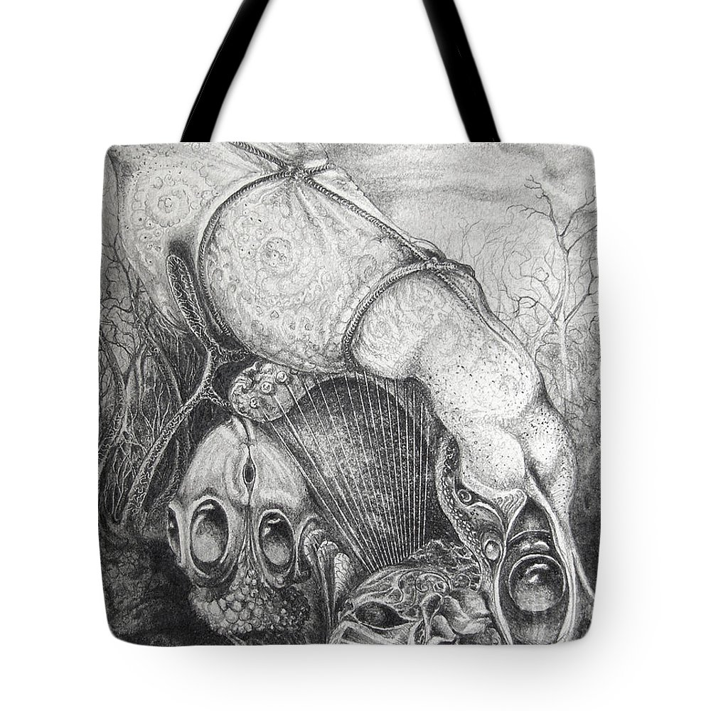 Surrealism Tote Bag featuring the drawing Ctulhu Seedpods by Otto Rapp