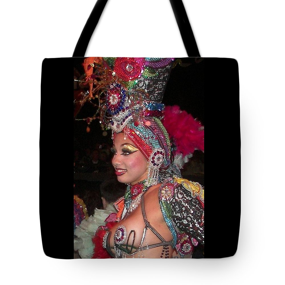 Cuba Tote Bag featuring the photograph Cuban Tropicana Dancer by Karen Wiles