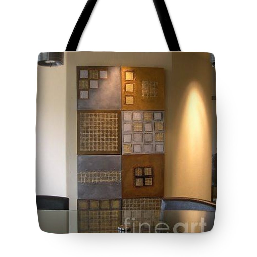 Metallic Tote Bag featuring the mixed media Cubelle by Marlene Burns