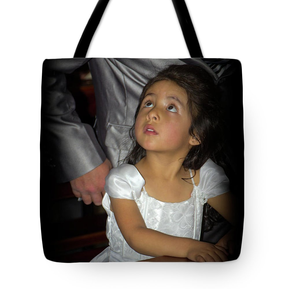 Girl Tote Bag featuring the photograph Cuenca Kids 815 by Al Bourassa