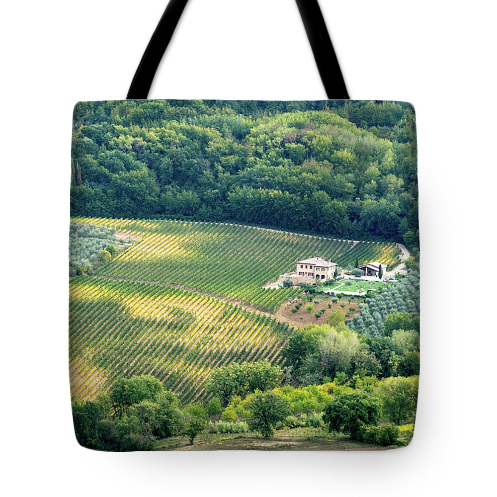 Michalakis Ppalis Tote Bag featuring the photograph Cultivated Vineyards Tuscany Italy by Michalakis Ppalis