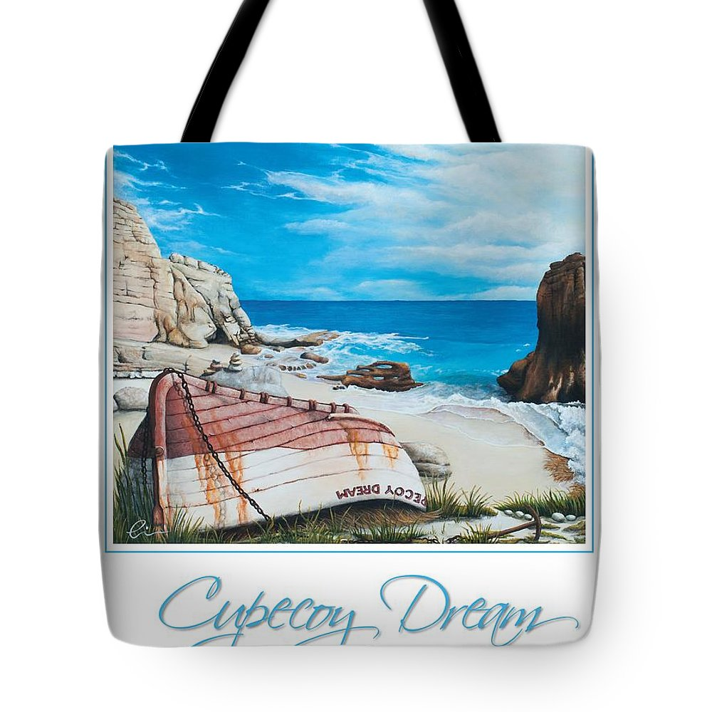 St. Maarten Tote Bag featuring the painting Cupecoy Dream Poster by Cindy D Chinn