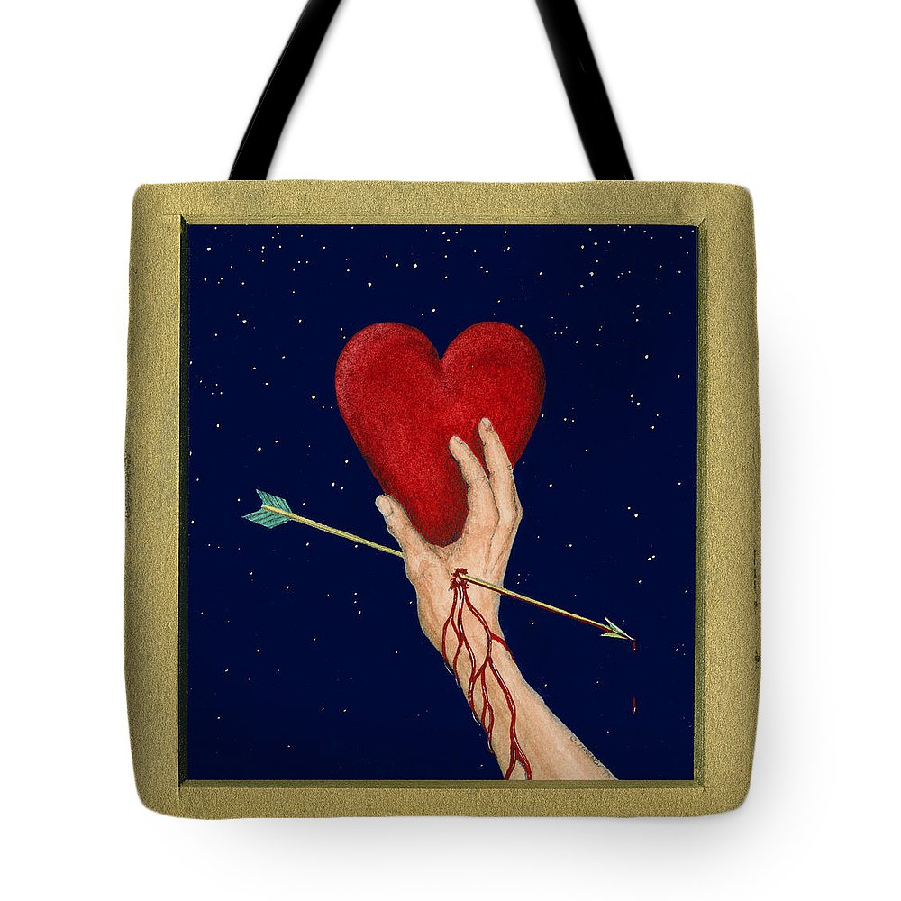 Cupid Tote Bag featuring the painting Cupids Arrow by Charles Harden