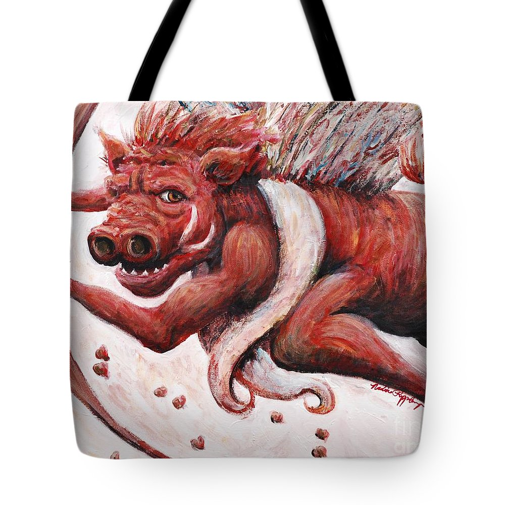 Pig Tote Bag featuring the painting Cupig by Nadine Rippelmeyer