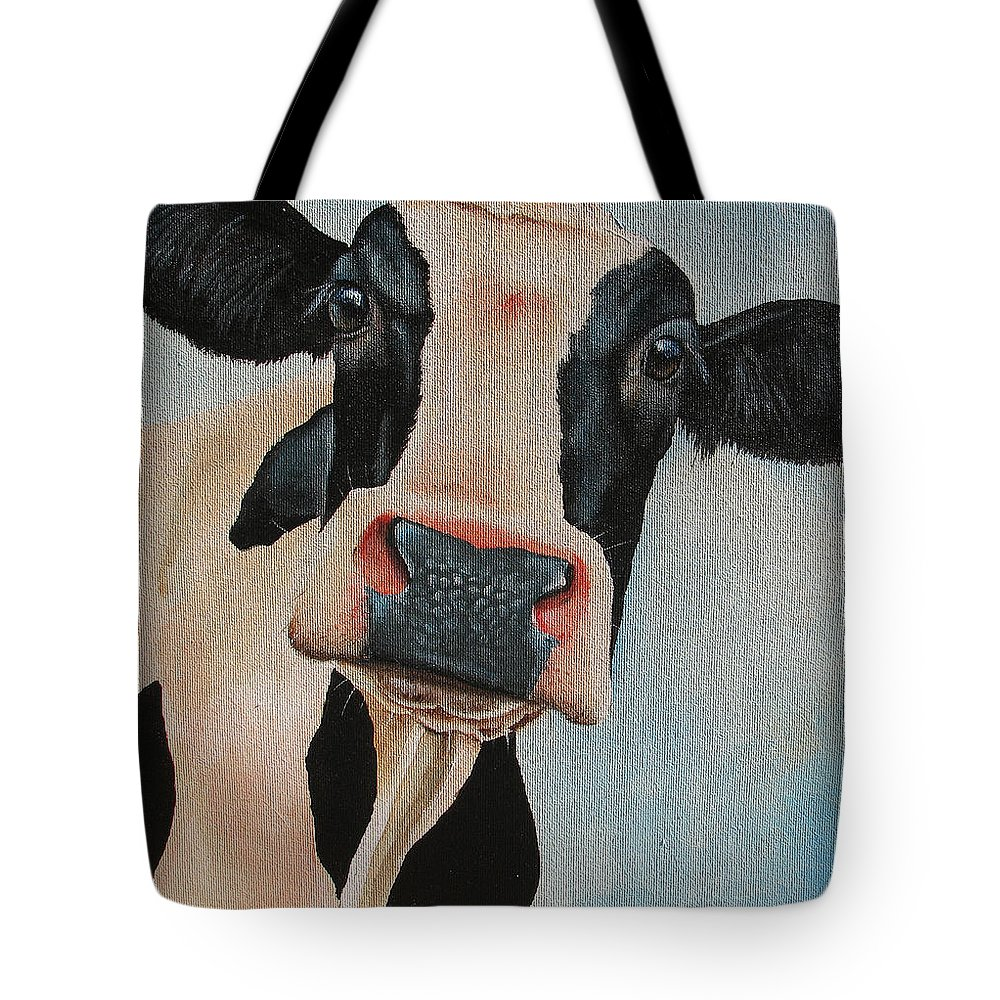 Cow Tote Bag featuring the painting Curiosity by Laura Carey