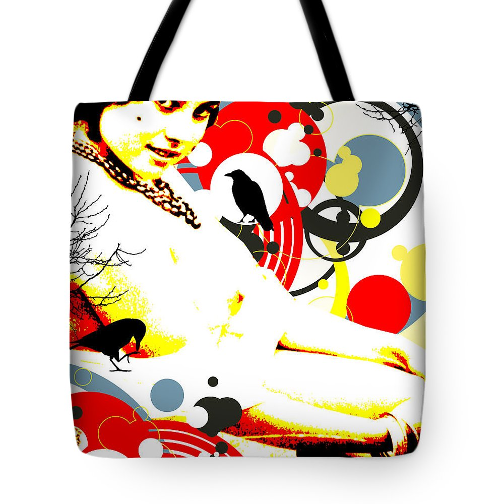 Nostalgic Seduction Tote Bag featuring the digital art Curious Crow by Chris Andruskiewicz