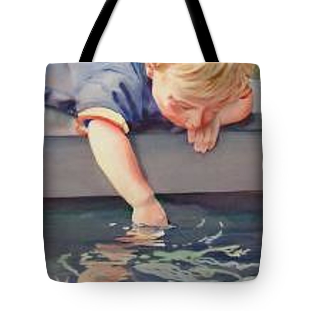 Boy Playing In Water Tote Bag featuring the painting Curious by Marlene Gremillion