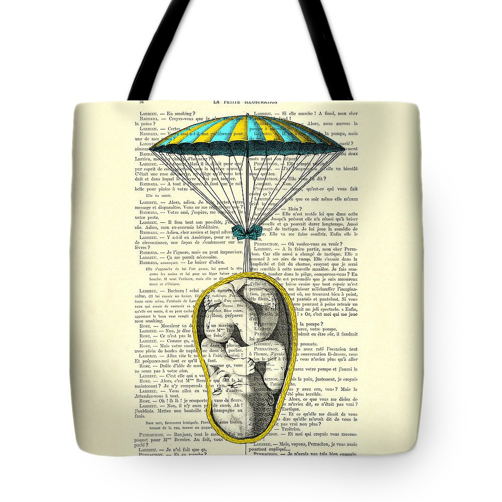 Baby Portrait Tote Bag featuring the digital art Curled Up Baby With Parachute by Madame Memento