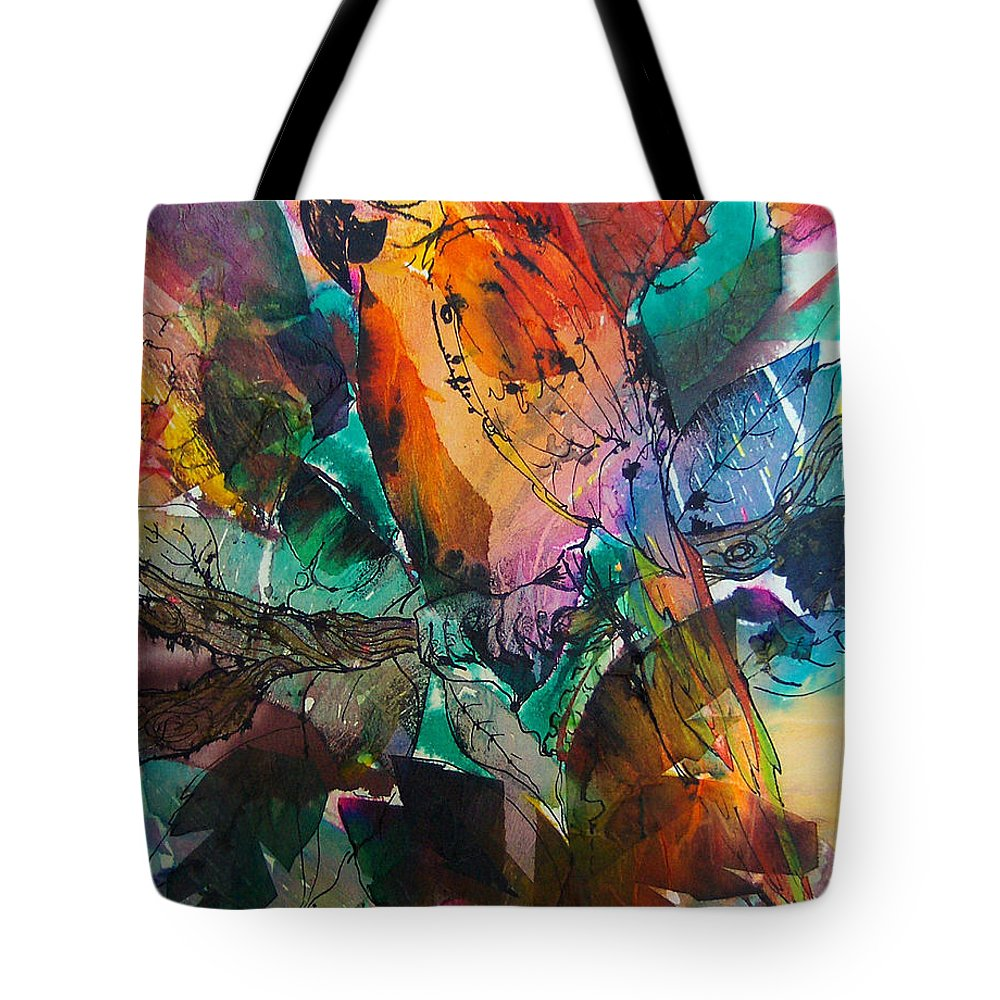Parrots Tote Bag featuring the painting Curly by Barbara Colangelo