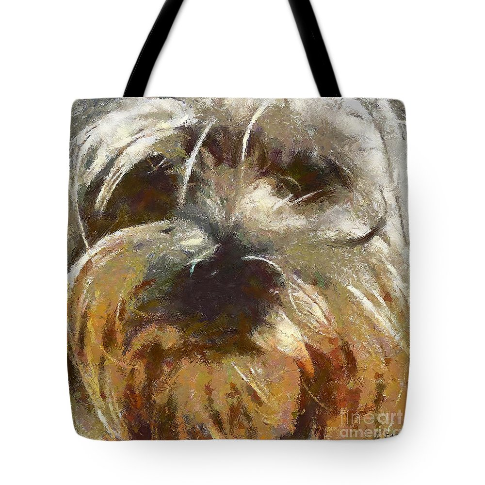 Dog Tote Bag featuring the painting Curly by Dragica Micki Fortuna