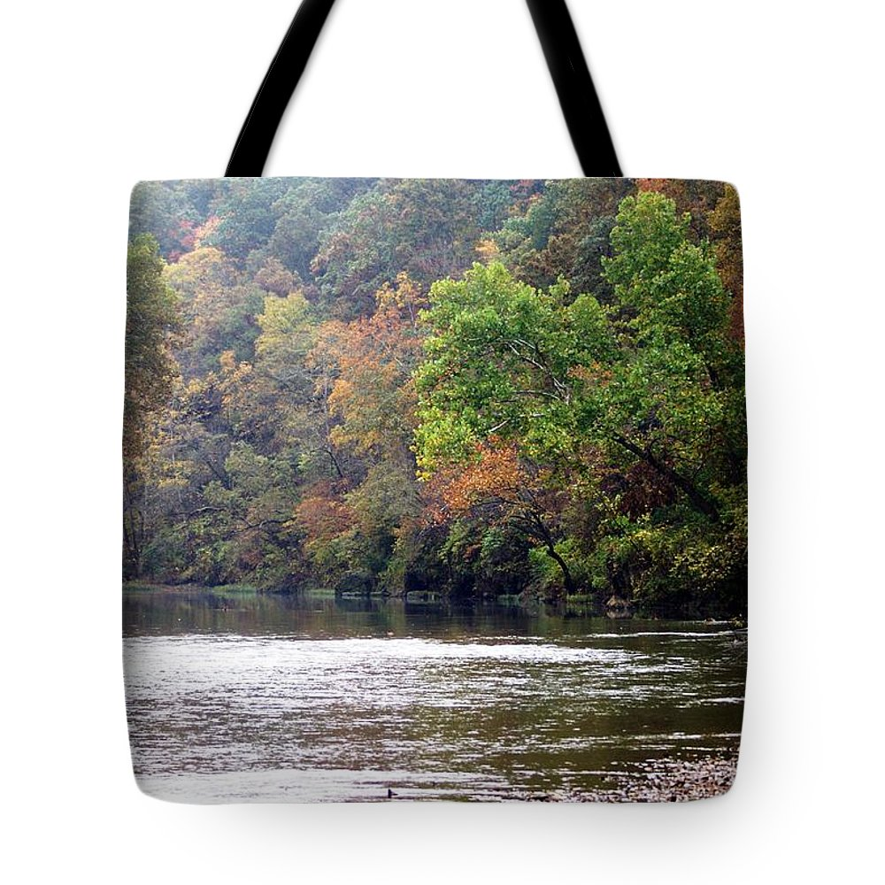 Current River Tote Bag featuring the photograph Current River Fall by Marty Koch