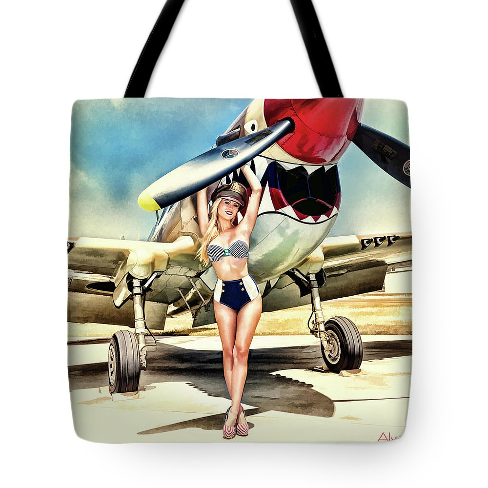 Curtis Tote Bag featuring the photograph Curtis P-40 Warhawk by Robert Alvarado