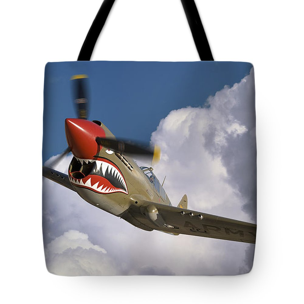Flying Tigers Tote Bag featuring the photograph Curtiss P-40n Warhawk by Larry McManus