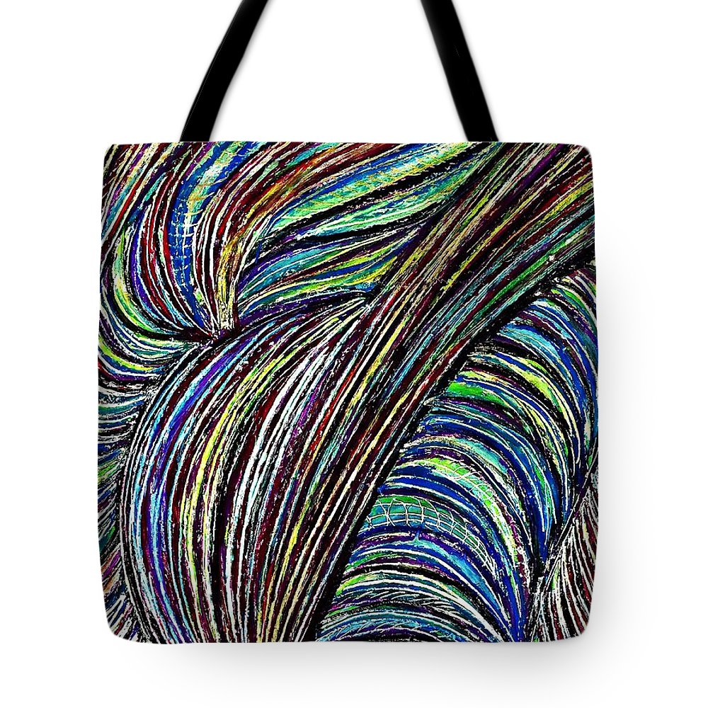Abstract Tote Bag featuring the drawing Curved Lines 7 by Sarah Loft