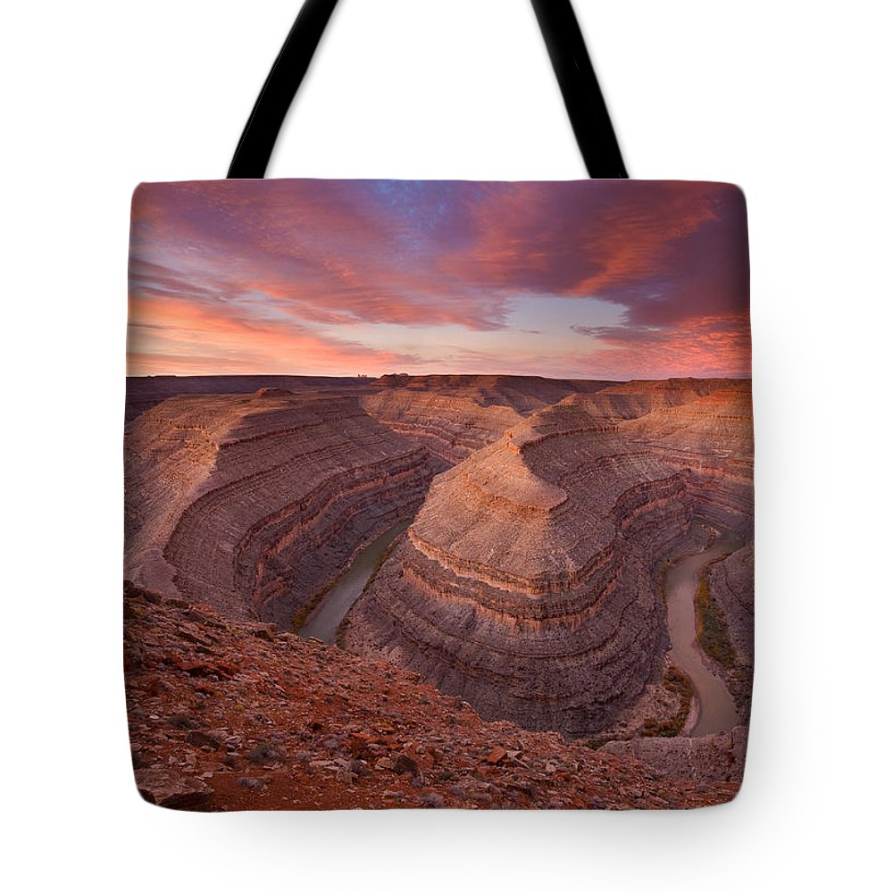 Canyon Tote Bag featuring the photograph Curves Ahead by Mike Dawson