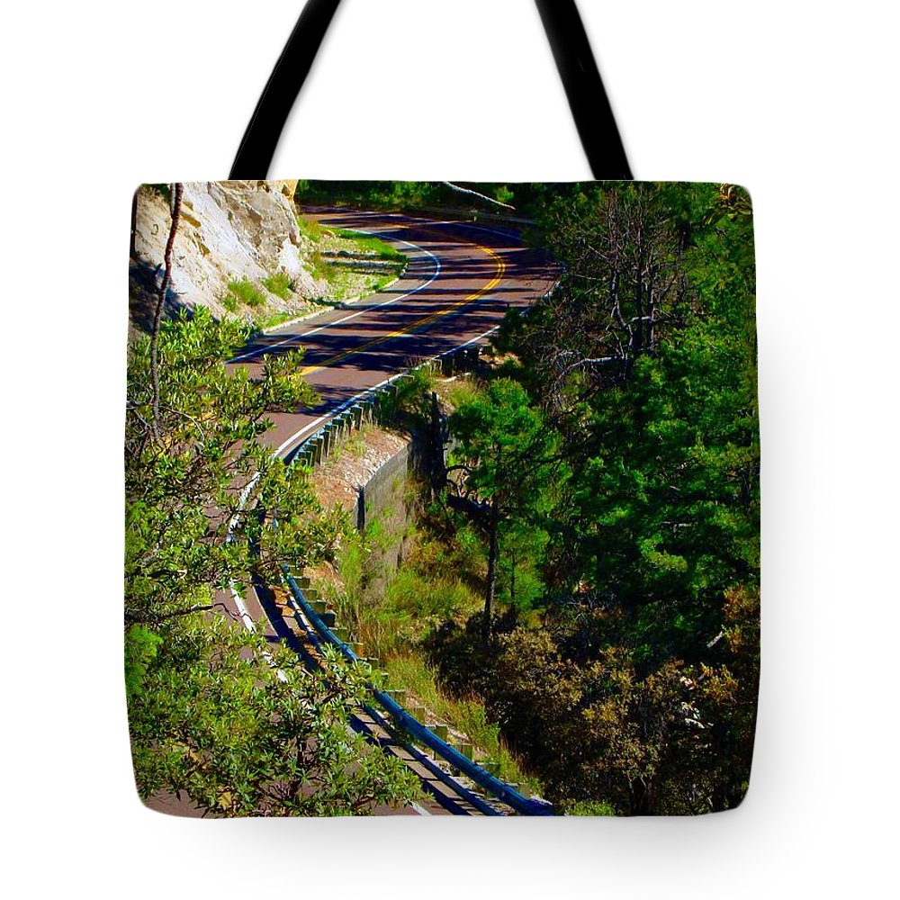 Road Tote Bag featuring the photograph Curvy Road by Marie Webb
