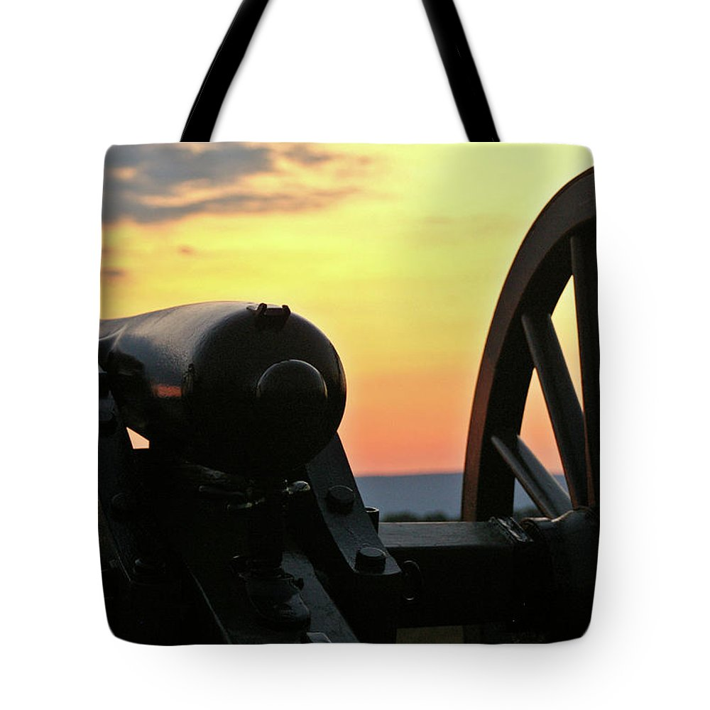 Civil War Tote Bag featuring the photograph Cushing's Battery by Jen Goellnitz