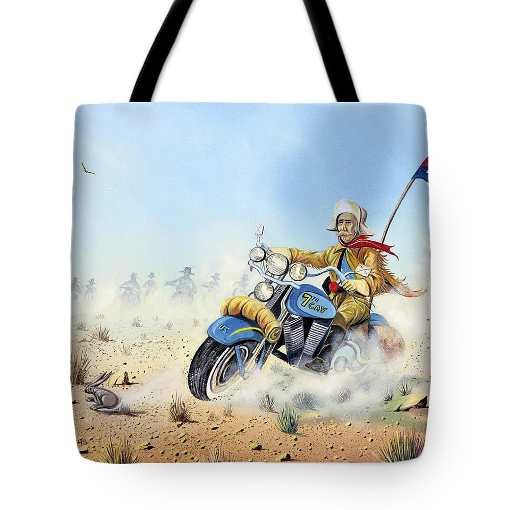 Bike Tote Bag featuring the painting Custer On A Hog by Don Griffiths