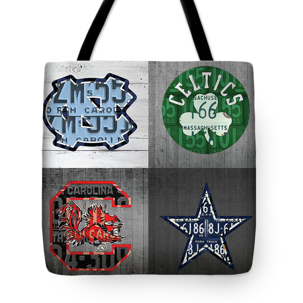 Unc Tote Bag featuring the mixed media Custom 4 Team License Plates Sport Art No 1 by Design Turnpike