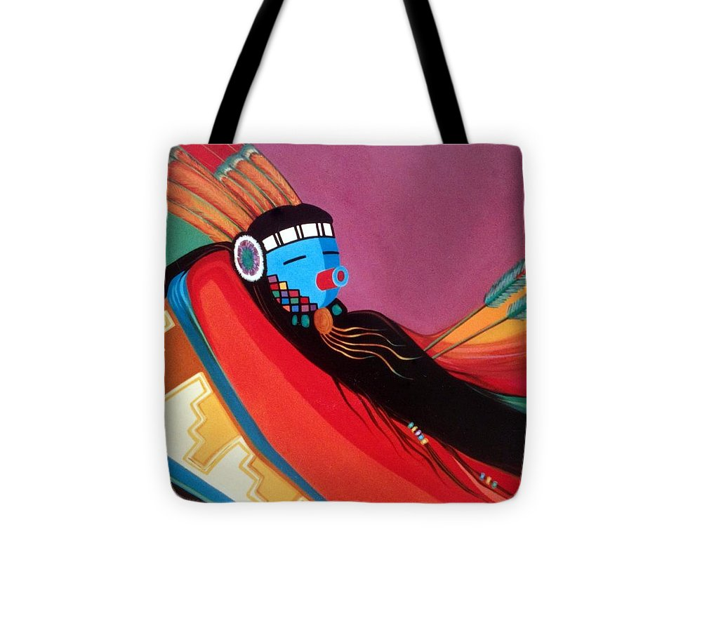 Kachina Tote Bag featuring the painting Custom Kachina by Marlene Burns