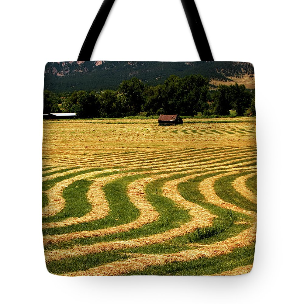 Hay Field Tote Bag featuring the photograph Cut Hay In Field by Mark Ivins