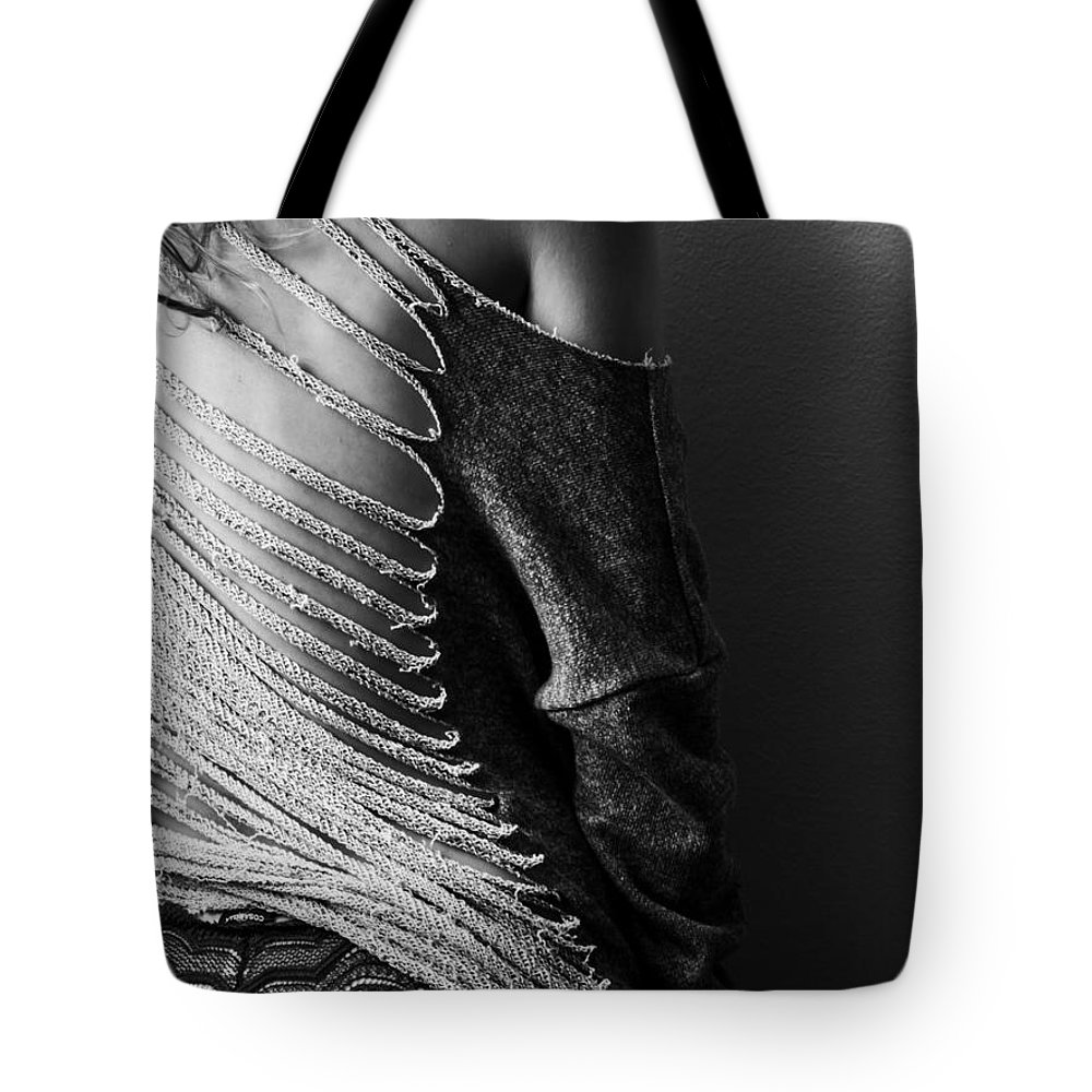 Blk And Wht Tote Bag featuring the photograph Cut Up Sweatshirt by Jae Feinberg