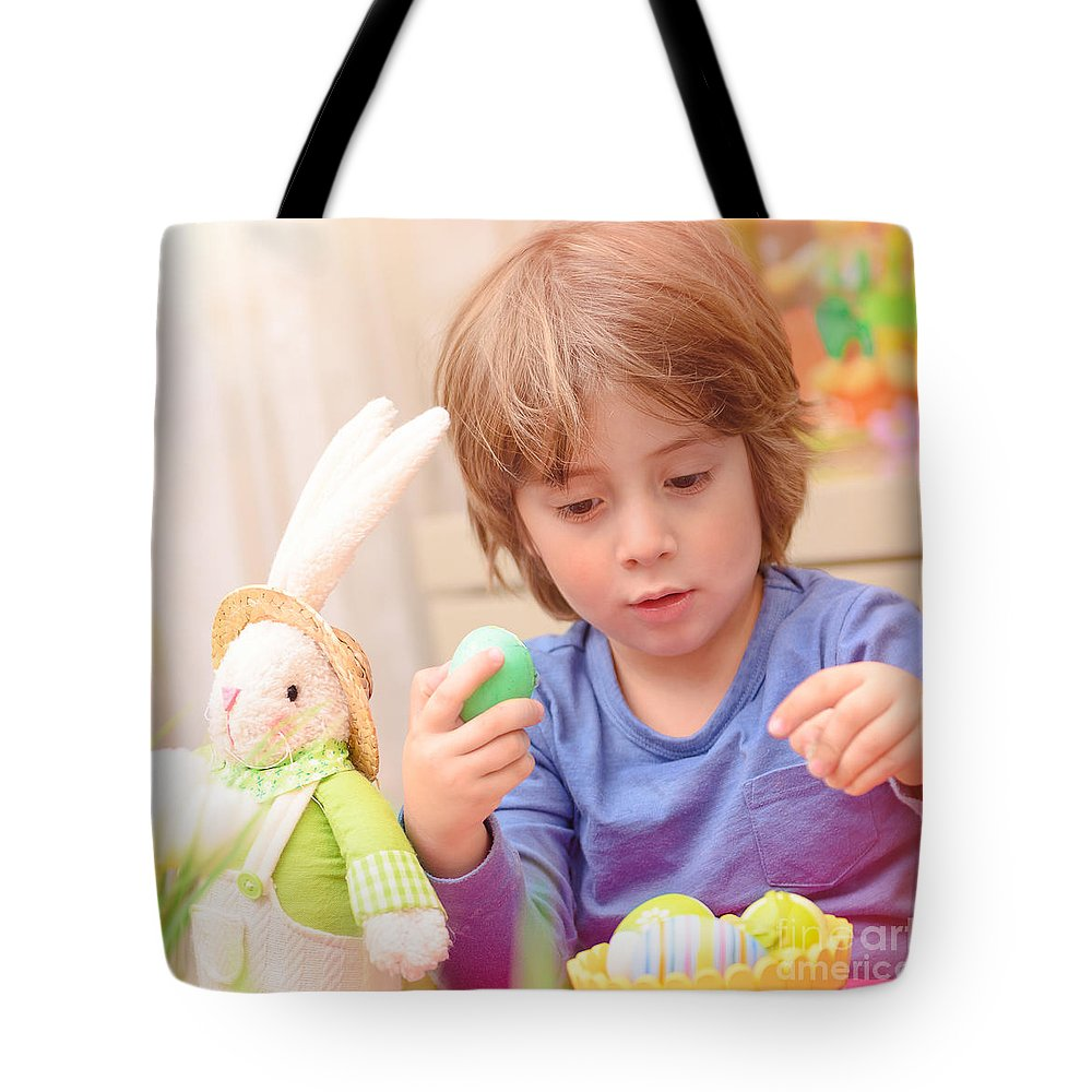 Active Tote Bag featuring the photograph Cute Boy Enjoy Easter Holiday by Anna Om