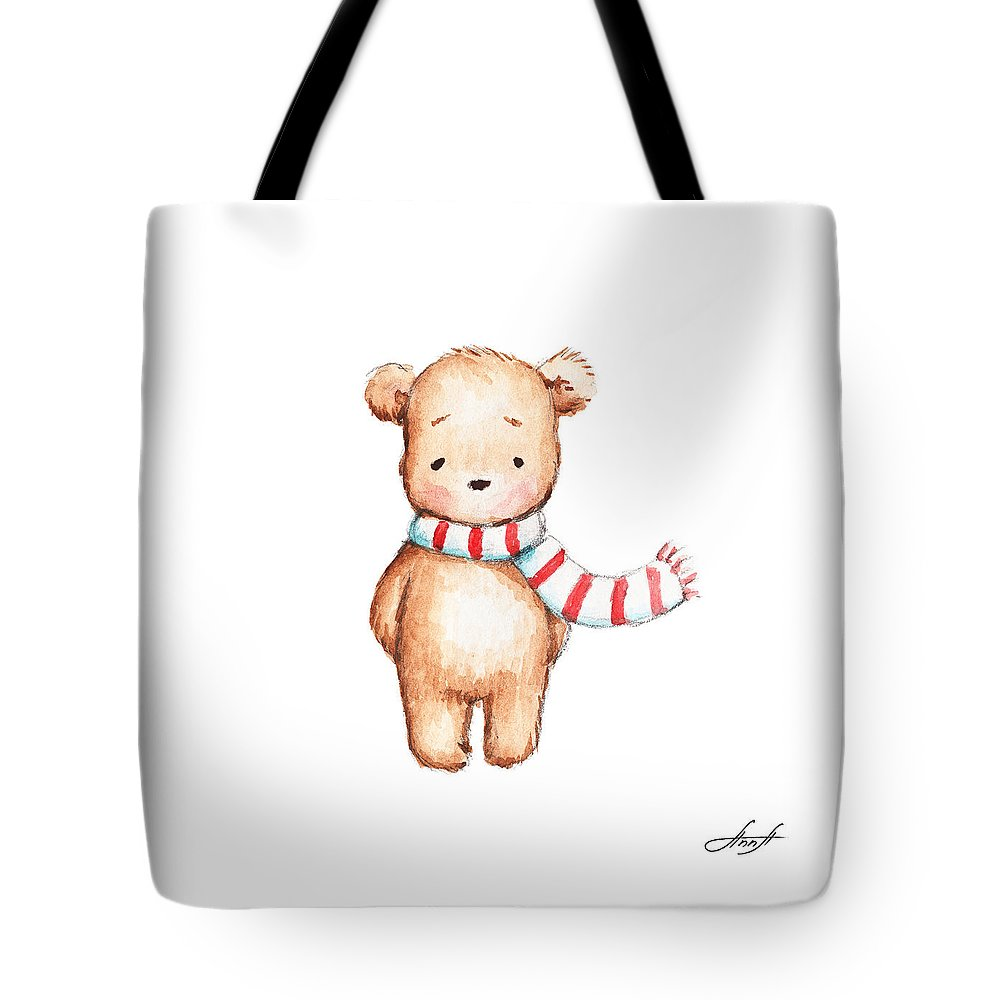 Bear Tote Bag featuring the painting Cute Teddy Bear With Red And White Scarf by Anna Abramska