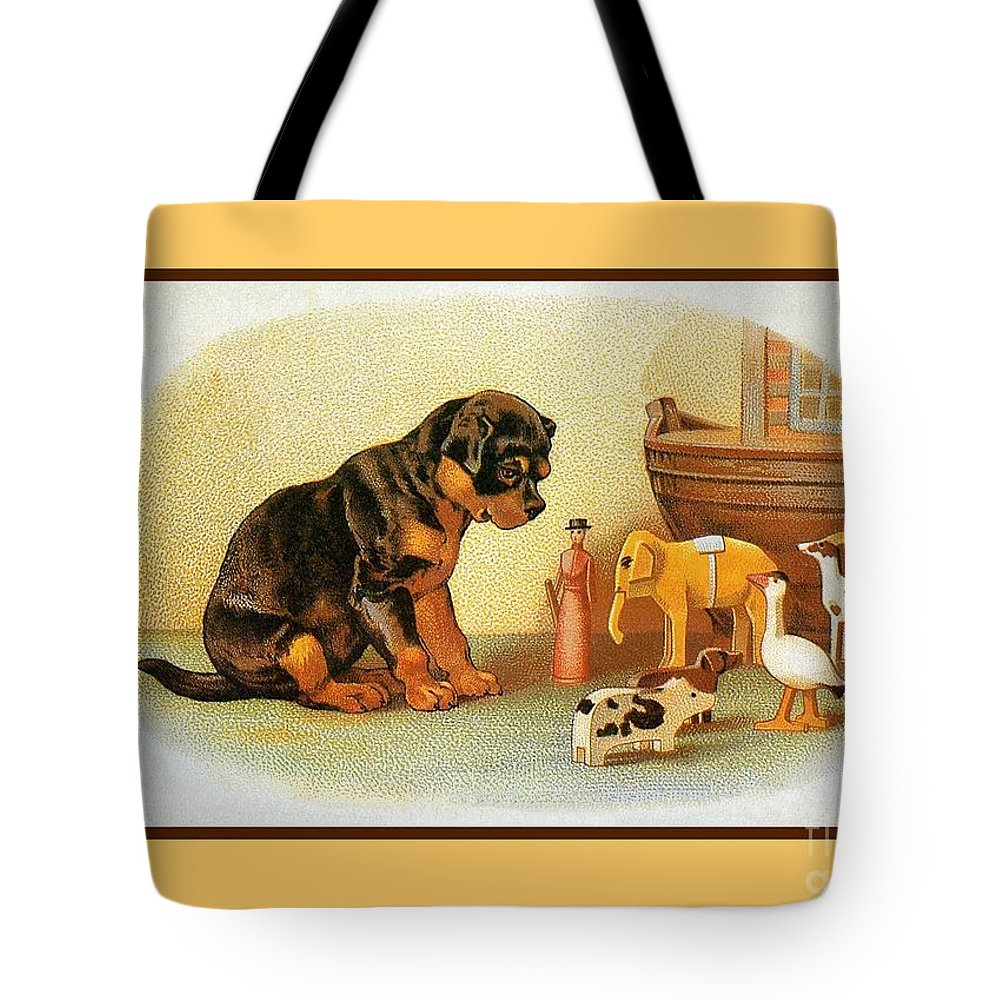 Cute Victorian Puppy, Wooden Toys Tote Bag for Sale by Heidi De Leeuw