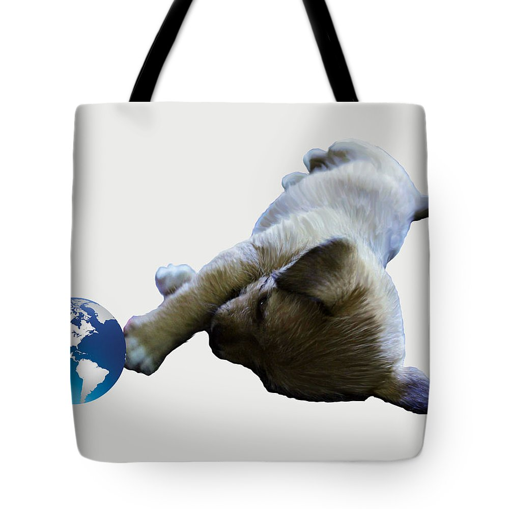 Original Art Work Tote Bag featuring the digital art Cutest Puppy Ever by Laurette Escobar