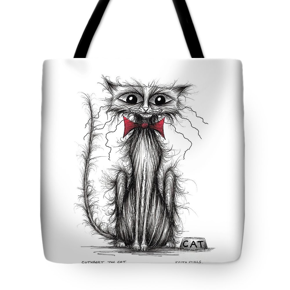 Thin Kitties Tote Bag featuring the drawing Cuthbert The Cat by Keith Mills