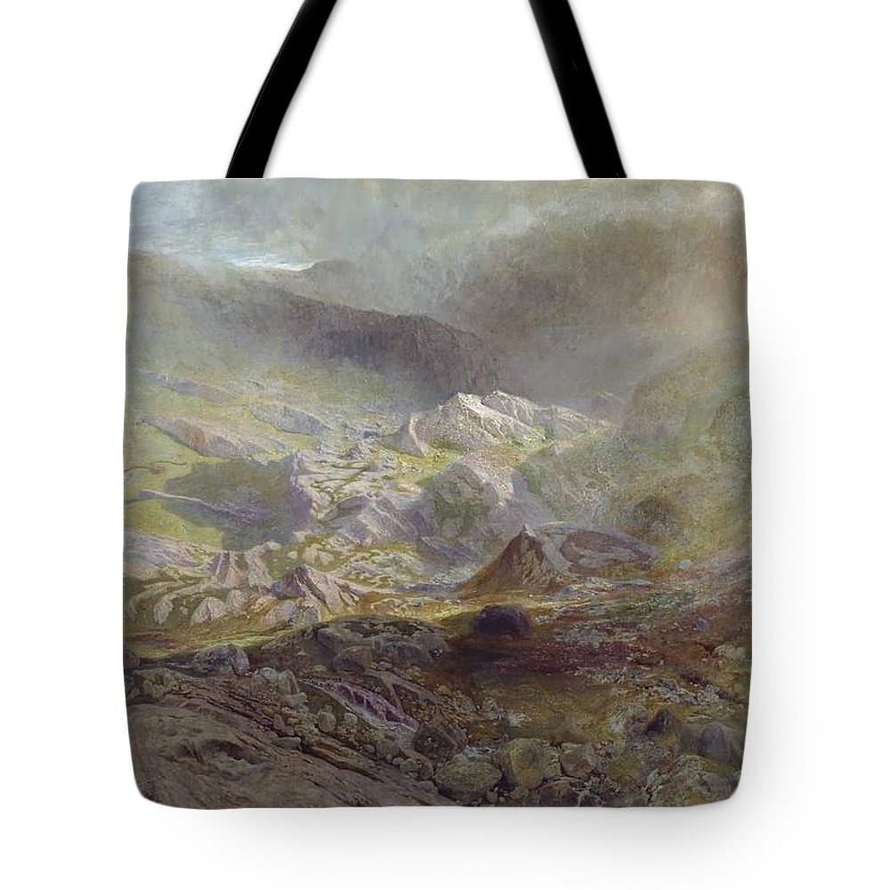 Alfred William Hunt - Cwm Trefaen Ca. 1855-60 Tote Bag featuring the painting Cwm Trefaen by MotionAge Designs