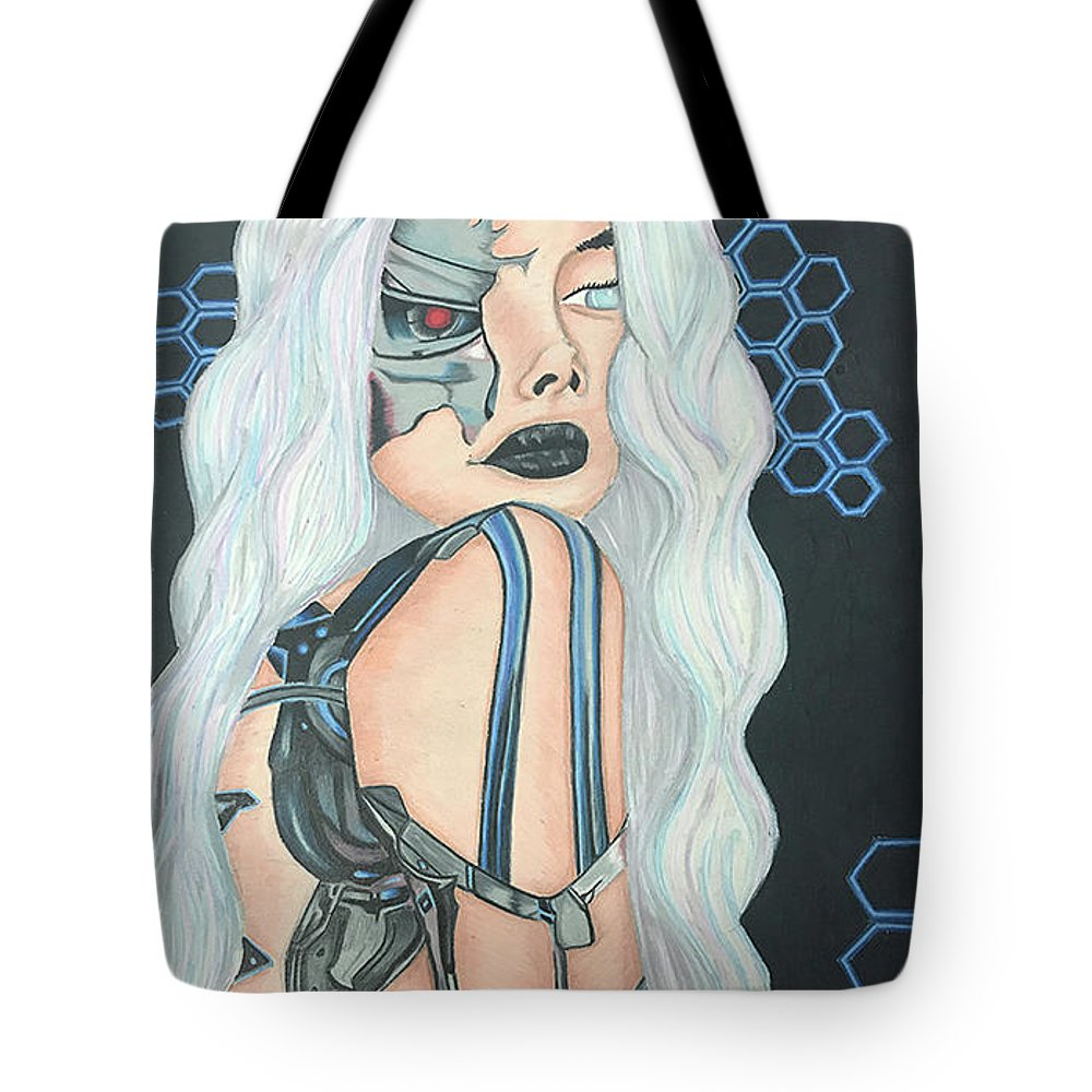 Girl Tote Bag featuring the drawing Cyborg Cindy by Avae Liyah