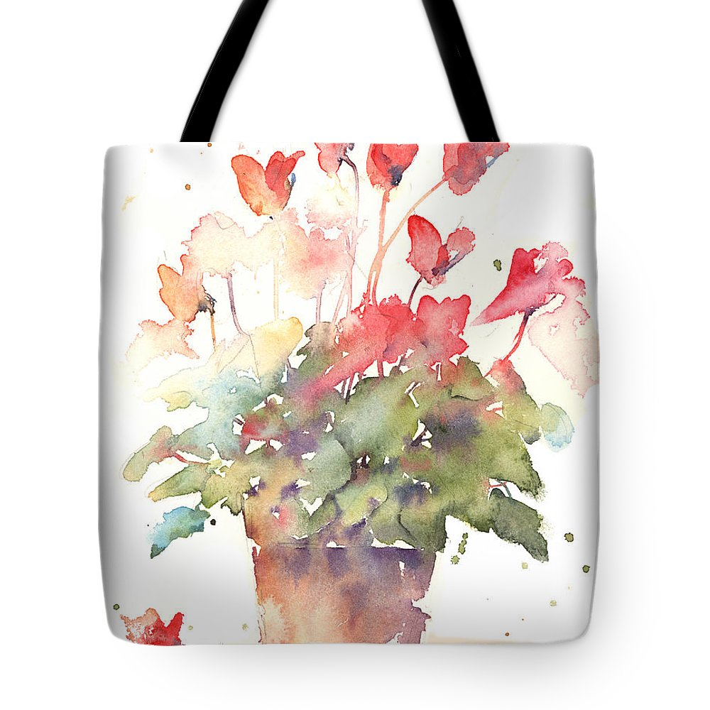 Cyclamen Tote Bag featuring the painting Cyclamen Exsplodes by Andrew Geeson