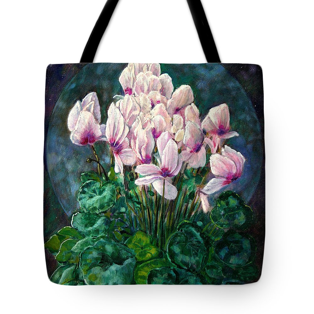 Cyclamen Flowers Tote Bag featuring the painting Cyclamen In Orbit by John Lautermilch