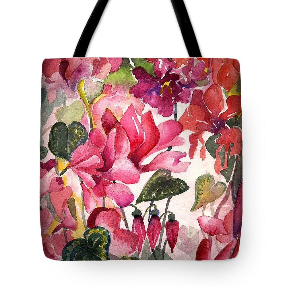 Cyclamen Tote Bag featuring the painting Cyclamen by Mindy Newman
