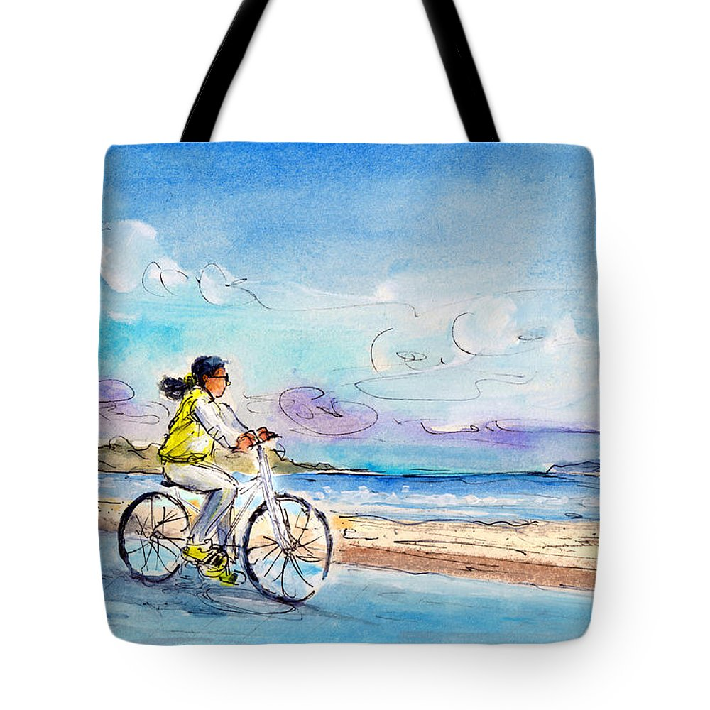 Travel Tote Bag featuring the painting Cycling In Port De Pollenca In Majorca by Miki De Goodaboom
