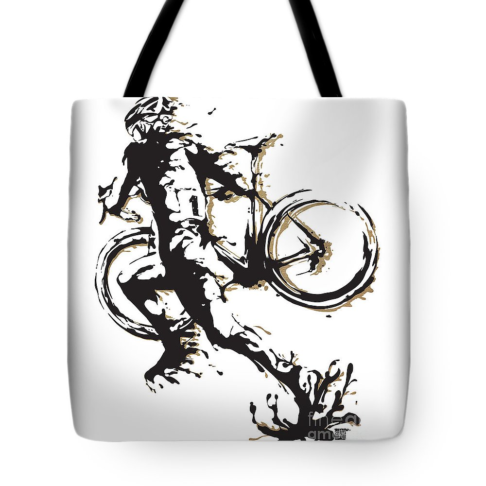 Cyclocross Tote Bag featuring the painting Cyclocross Poster1 by Sassan Filsoof