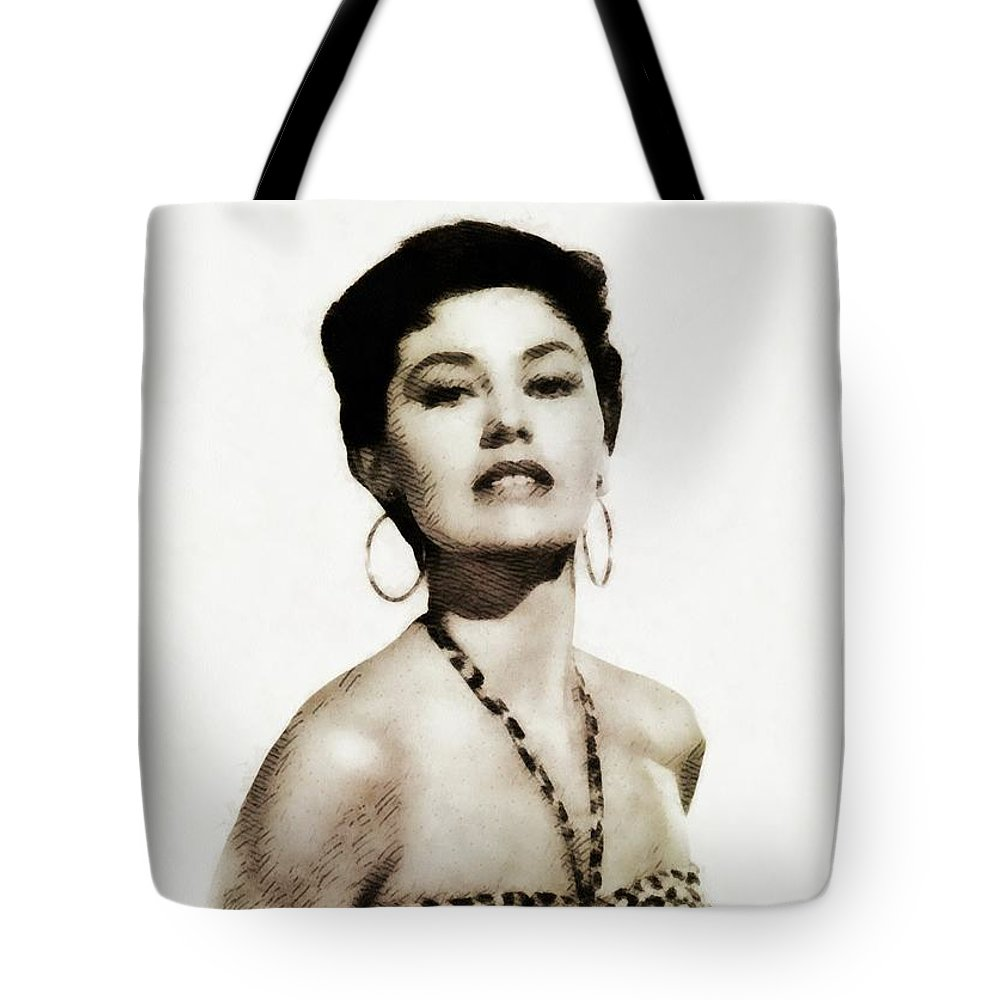 Cyd Tote Bag featuring the painting Cyd Charisse, Actress And Dancer by John Springfield