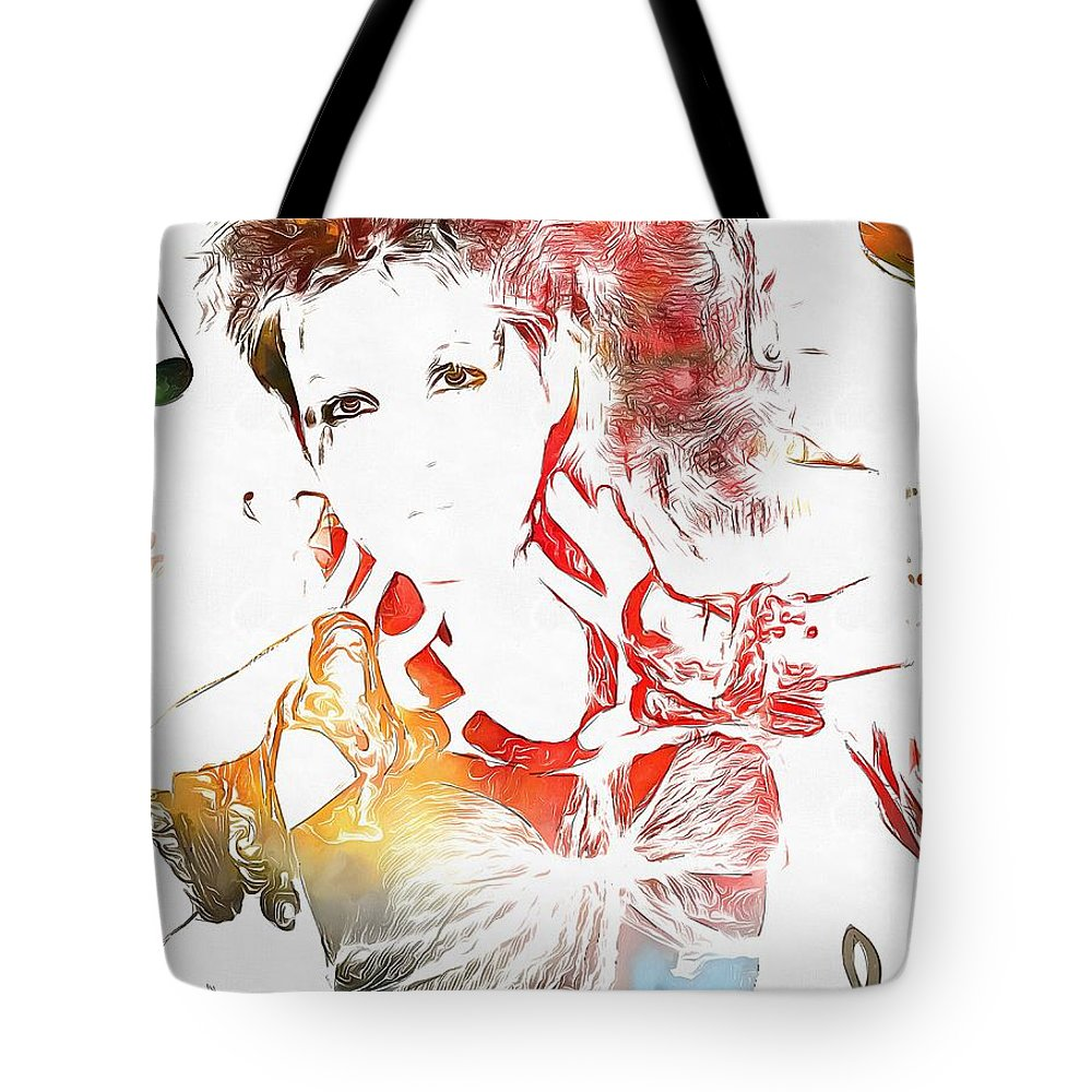 Cyndi Lauper Watercolor Tote Bag featuring the painting Cyndi Lauper Watercolor by Dan Sproul