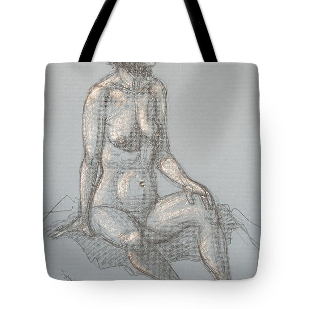 Realism Tote Bag featuring the drawing Cynthia Seated From Side by Donelli DiMaria