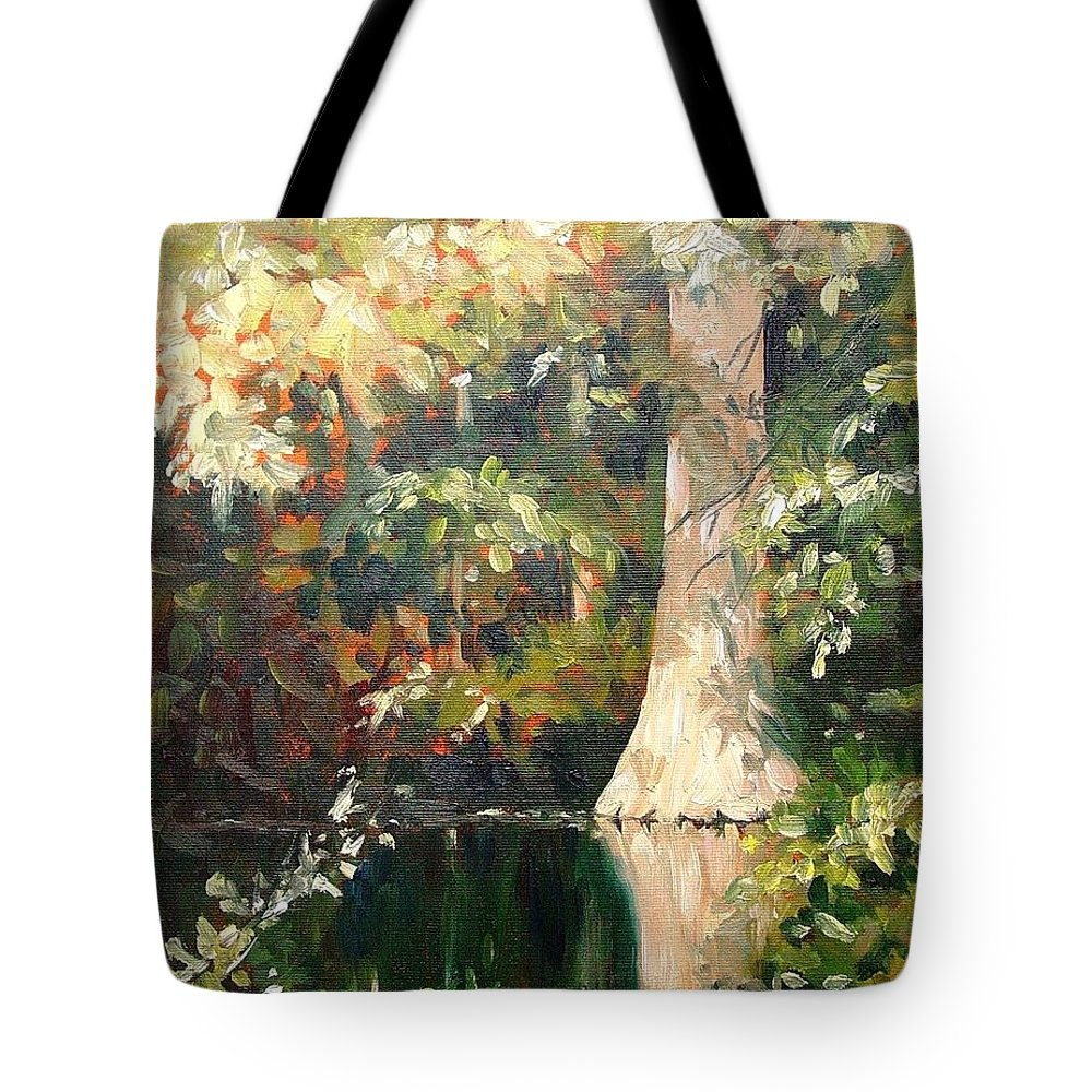 Landscape Tote Bag featuring the painting Cypress In Sun by Marlene Gremillion