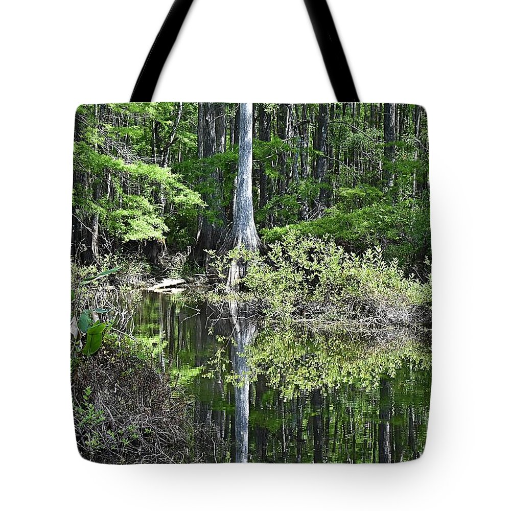 Slough Tote Bag featuring the photograph Cypress Slough by Lisa Clark