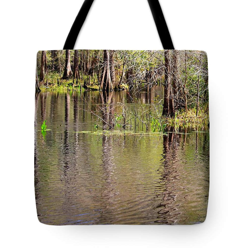 Cypress Trees Tote Bag featuring the photograph Cypresses Reflection by Carol Groenen