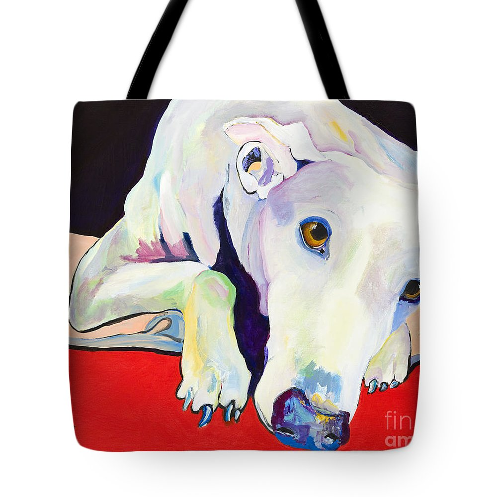 Animals Pets Greyhound Tote Bag featuring the painting Cyrus by Pat Saunders-White