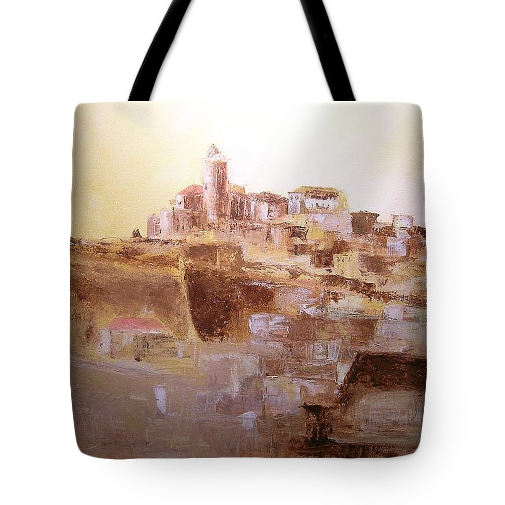 Original Cityscpae Tote Bag featuring the painting D Alt Vila Ibiza Old Town by Lizzy Forrester